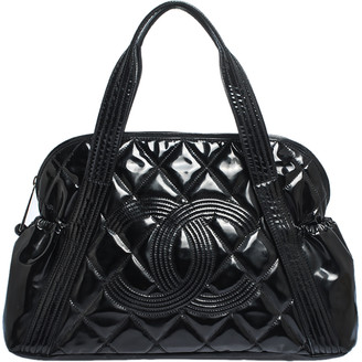 Chanel Black Quilted Patent Leather CC Bowler Bag