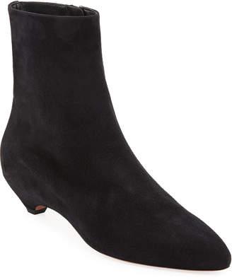 Alaia Covered-Heel Suede Booties