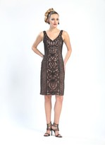 Sue Wong V-Cut Neckline Swirl Patterned Dress N4305