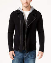INC International Concepts Men's Layered Knit Moto Sweater Jacket, Created for Macy's