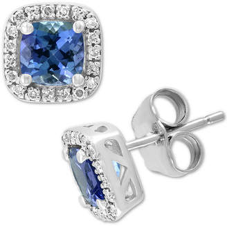 Effy Tanzanite (1-1/5 ct. t.w.) & Diamond (1/6 ct. t.w.) Stud Earrings in 14k White Gold