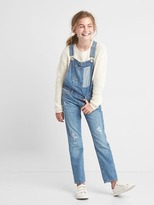 Gap Patchwork denim girlfriend overalls