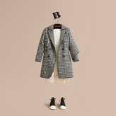 Burberry Sculptural Panel Tailored Houndstooth Wool Coat