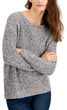 Style&Co. Style & Co Petite Directional Rib Pullover Sweater, Created for Macy's