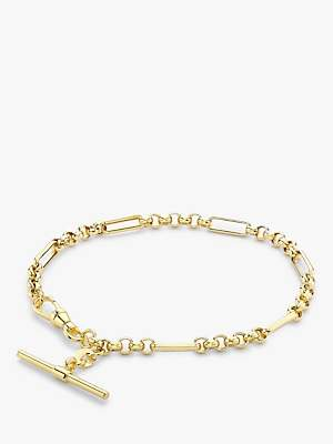 IBB 9ct Gold T-Bar Figaro Chain Bracelet, Gold