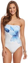 Carmen Marc Valvo Gilded Garden Bandeau One Piece Swimsuit 8160384
