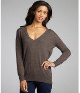 hickory cashmere v-neck boyfriend sweater
