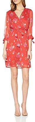 Vero Moda Women's Vmlili 3/4 Short Wrap Dress D2-3, Multicoloured AOP: Lili Mini Print Poppy Red Comb, 14 (Size: Large)