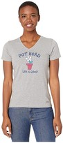 Life is Good Pot Head Flower Crusher Vee (Heather Gray) Women's Clothing