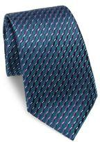Ermenegildo Zegna Slanted Stripe Printed Silk Tie