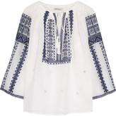 Mes Demoiselles Slava Embroidered Cotton-gauze Blouse - Ivory
