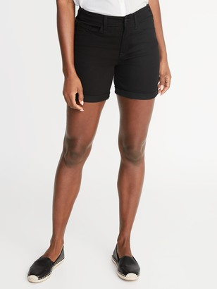 Old Navy Mid-Rise Slim Black Jean Shorts For Women - 5-Inch Inseam