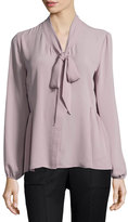 Neiman Marcus Bow-Front Georgette Blouse, Silver Lilac
