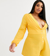 Lasula Plus plunge front flippy playsuit in yellow