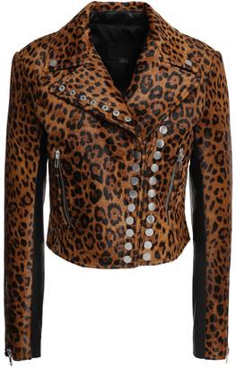 Alexander Wang Paneled Studded Calf Hair And Pebbled-leather Biker Jacket