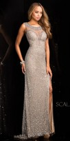 Scala Illusion Beaded Scallop Sequin Prom Dress