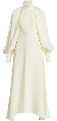 Victoria Beckham Draped Bishop Sleeve Midi Dress