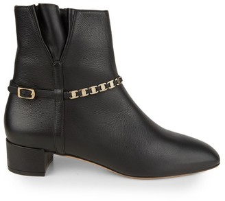 Salvatore Ferragamo Tino Embellished Leather Ankle Boots