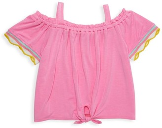 Design History Little Girl's Off-The-Shoulder Tie-Front Top