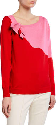 DELPOZO Bow-Neck Two-Tone Sweater