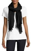 Eileen Fisher Cotton Twill Pompom Wrap