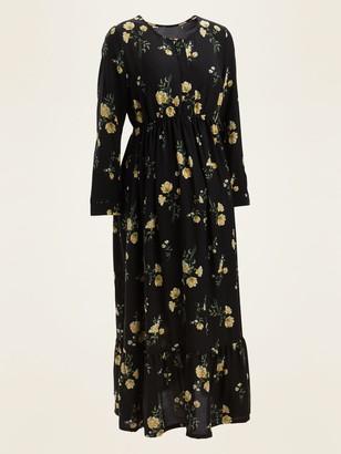 Old Navy Maternity Floral-Print Tiered-Hem Maxi Swing Dress
