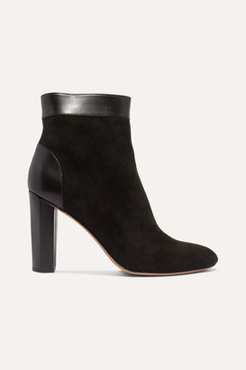 Diane von Furstenberg Daphne Leather-trimmed Suede Ankle Boots - Black