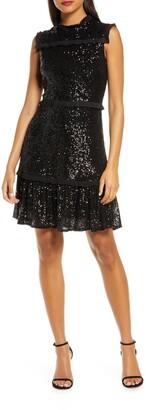 Julia Jordan Sequin Tiered A-Line Dress