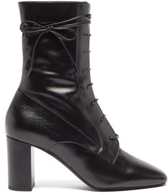 Saint Laurent Laura Lace-up Leather Ankle Boots - Womens - Black
