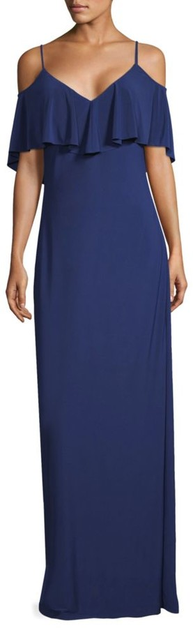 Laundry by Shelli Segal Cold-Shoulder Column Gown