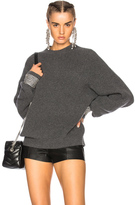 Alexander Wang Crew Neck Sweater with Crystal Cuffs in Gray.