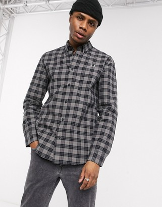 Fred Perry button down collar check shirt in gray