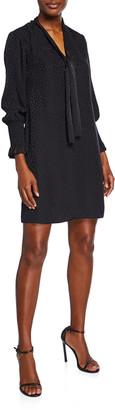 Rebecca Taylor Long-Sleeve Cheetah Jacquard Tie-Neck Dress