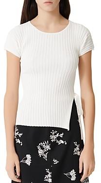 Maje Mamoma Ribbed Side-Tie Short-Sleeve Sweater