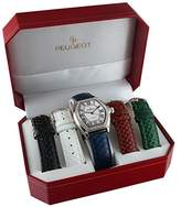 Peugeot Women's -Tone Crystal Bezel Roman Numeral Dial with Five Interchangeable Leather Bands Watch Gift Set 679S
