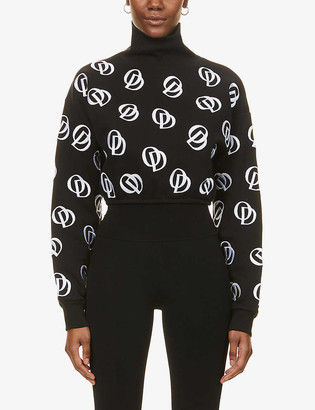 O'dolls Logo-embroidered cropped cotton-blend jumper