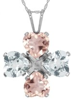 Gem Stone King 3.40 Ct Heart Shape Rose Rose Quartz Sky Blue Topaz 925 Sterling Silver Pendant