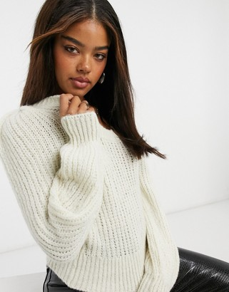 ASOS DESIGN lofty stitch jumper with volume sleeve