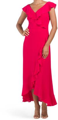 Catalina Crepe Ruffle Detail Maxi Dress