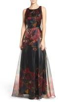 Tahari Women's Print Organza Gown