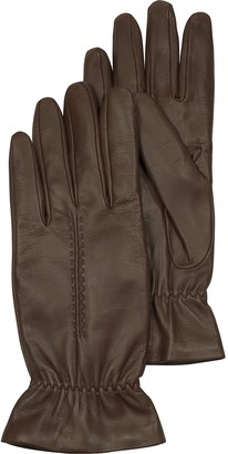 Forzieri Chocolate Brown Leather Women's Gloves w/Wool Lining