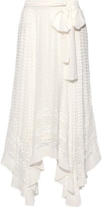 Zimmermann Unbridled Asymmetric Belted Fil Coupe Silk-georgette Maxi Skirt