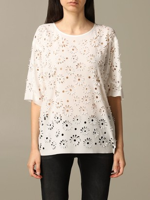 Boutique Moschino Sweater With Laser-cut Flowers