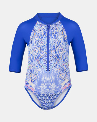 Escargot - Girl's Blue One-Piece Swimsuit - Peacock Sunsuit - Size One Size, 3 at The Iconic