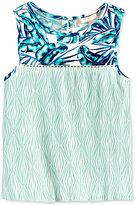 Roxy Cotton Mixed-Print Button-Back Tank, Big Girls (7-16)