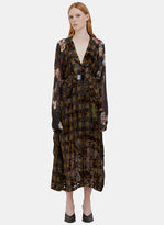 Preen Women's Winona Long Checked Floral Satin Devoré Dress in Black and Olive
