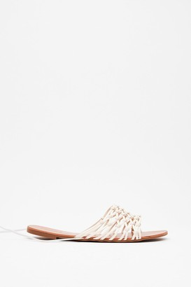 Nasty Gal Womens Lace Work It Out Faux Leather Flat Sandals - White