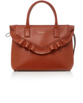 Paule Ka Brown Leather Bag With Scallop Detail