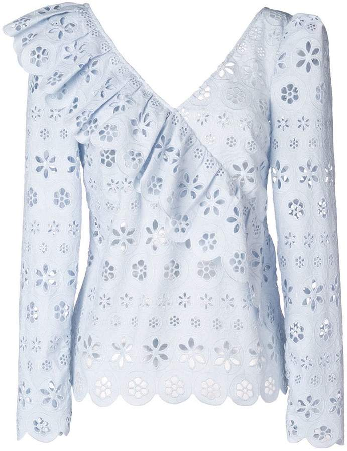 Self-Portrait floral broderie frill top