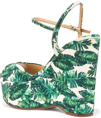 Schutz Patrycia Printed Canvas Wedge Sandals